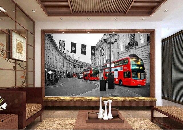 Retro Background Red London Bus Street 3D Wallpaper Modern For