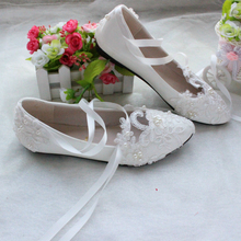 High Quality White/Red Lace Pearls Women Wedding Shoes With Ribbons Lace Up  Ladies Party/Dress Shoes Pointed Toes Size EU34-40