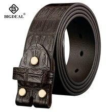 Ceintures en cuir véritable, sans boucle, pour Jeans, Vintage, avec une couche, largeur de 3.8cm, pour hommes