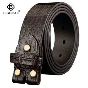 Image 1 - Genuine Leather Belts Without Buckle for Men Brand Strap Vintage Jeans Cowskin Strap With One Layer Leather 3.8cm Wide