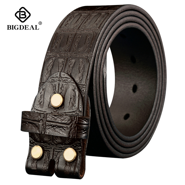 Genuine Leather Belts Without Buckle for Men Brand Strap Vintage Jeans Cowskin Strap With One Layer Leather 3.8cm Wide