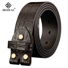 Genuine Leather Belts Without Buckle for Men Brand Strap Vintage Jeans Cowskin Strap With One Layer Leather 3.8cm Wide(China)