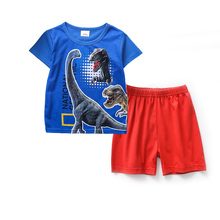 Summer Kids Pajamas Short Sleeve Baby Boy Dinosaur Clothes Cotton Casual Suit