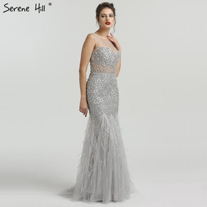 Image 3 - Grey Luxury Diamond Sequined High end Evening Dresses 2020 Elegant Mermaid Sleeveless Sexy Evening Gowns Serene Hill LA6587