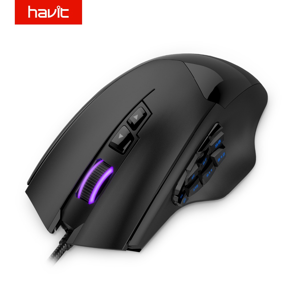 HAVIT 12000 DPI 19 Buttons Programmable Mouse Optical Sensor Pixart PMW 3360 Optical MMO Gaming Mouse