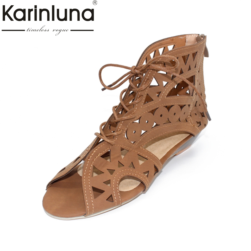 New Big Size 34-43 Fashion Cutouts Lace Up Women Sandals Open Toe Low Wedges Summer Shoes Open Toe Gladiator Platform Woman summer women shoes casual cutouts lace canvas shoes hollow floral breathable platform flat shoe sapato feminino lace sandals