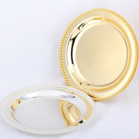 Diameter 25CM/10Inches Gold Silver Cake Pan Wedding Home Decoration Ornaments Fruit Plate Dessert Plate Cake Tray Party Supplies