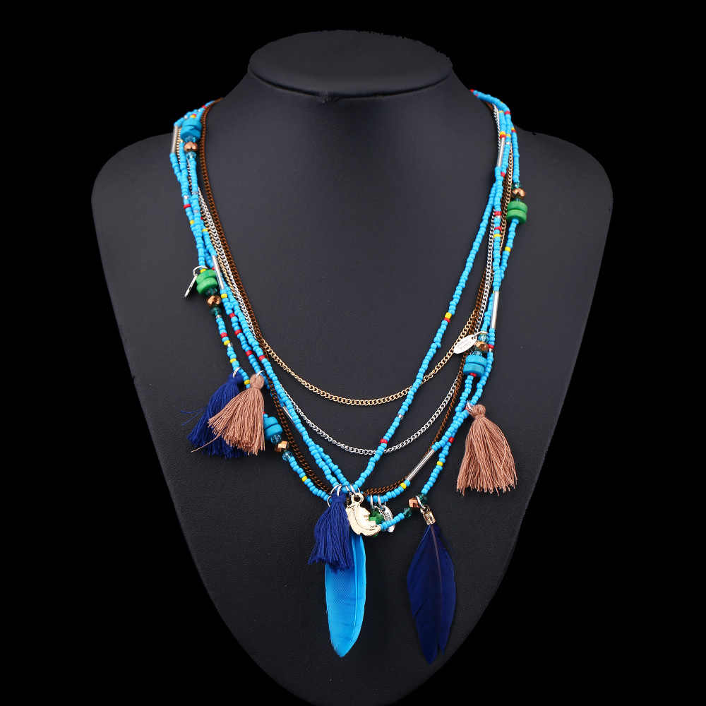H:HYDE Ethnic Bohemian Choker Necklace Women Multilayer Beads Feather Resin Maxi Collares Collier Bohemia Jewelry