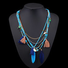 H:HYDE Ethnic Bohemian Choker Necklace Women Multilayer Beads Feather Resin Maxi Collares Collier Bohemia Jewelry(China)