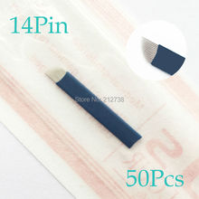 50pcs/lot Permanent Makeup Eyebrow Tattoo Bevel Blades 14 Needles for Manual Eyebrow Tattoo Pen Free Shipping