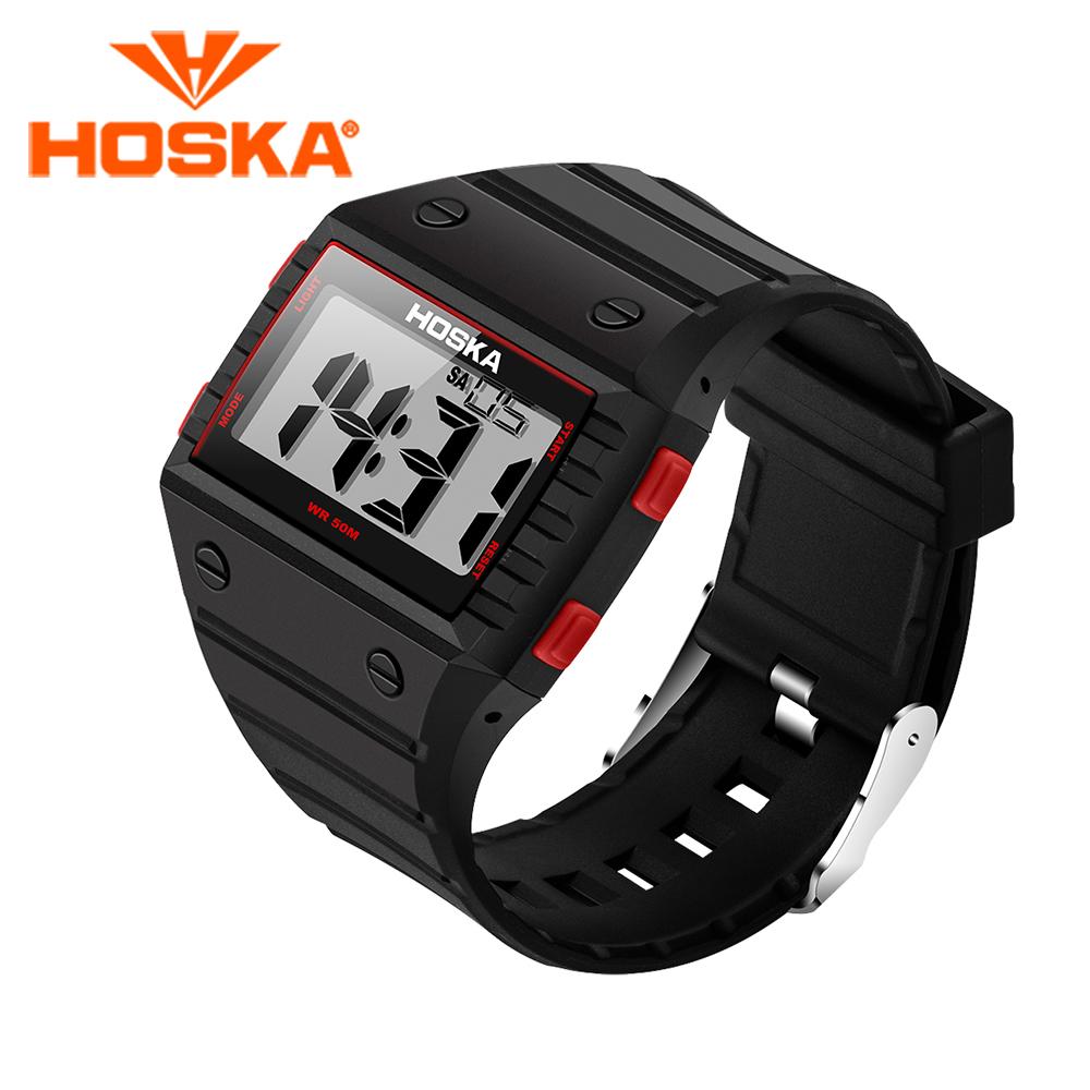 Prix pour Hoska hommes de montres led montre numérique étudiant hommes numérique-montre sport en plein air étanche relogio masculino de natation