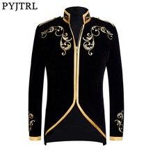 PYJTRL британский стиль дворцовый принц Модный черный бархат золотой блейзер в полоску с вышивкой Свадебный Жених Slim Fit пиджак певцы пальто