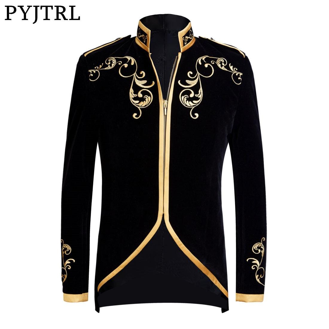 PYJTRL 英国スタイル宮殿王子ファッション黒ベルベットゴールド刺繍ブレザー結婚式新郎スリムフィットスーツジャケット歌手コート