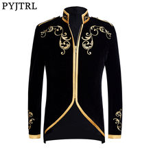 PYJTRL British Style Palace Prince Fashion Black Velvet Gold Embroidery Blazer Wedding Groom Slim Fit Suit Jacket Singers Coat(China)