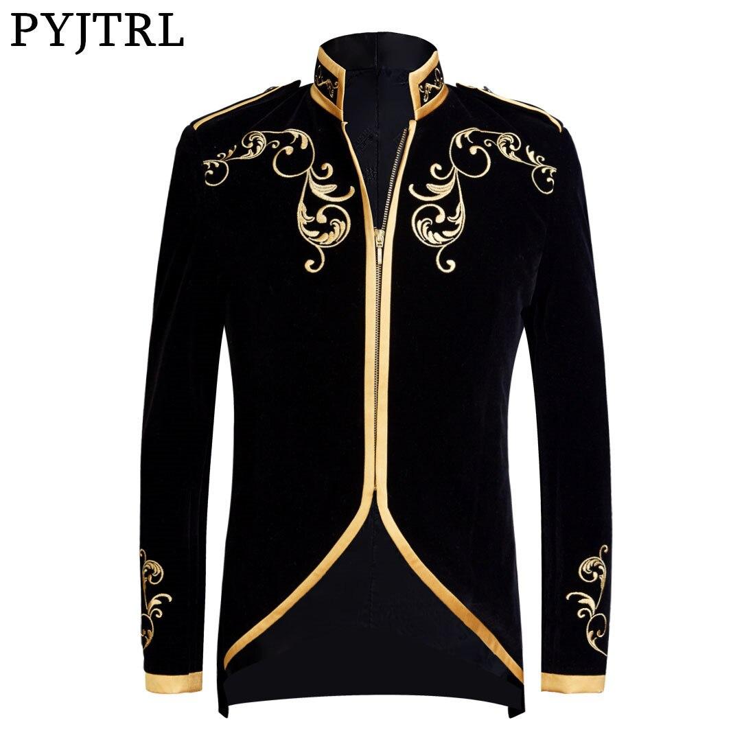 PYJTRL Style britannique palais Prince mode noir velours or broderie Blazer mariage marié Slim Fit costume veste chanteurs manteau