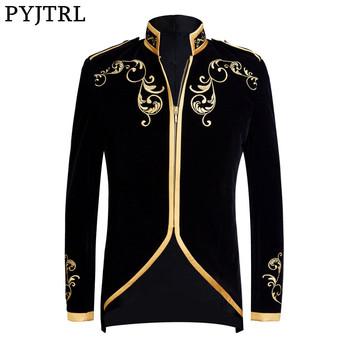 PYJTRL brytyjski styl pałac książę moda czarny aksamit złoty haft marynarka ślub pan młody dopasowany przylegający garnitur kurtka piosenkarki płaszcz tanie i dobre opinie REGULAR Poliester zipper Pełna Blazers Stand Collar Anglia styl