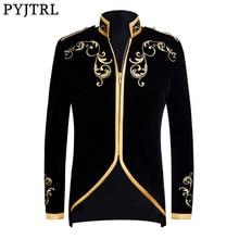 Pyjtrl casaco jaqueta preta de veludo, estilo britânico, palácio, preto, dourado, bordado, para casamento, slim fit