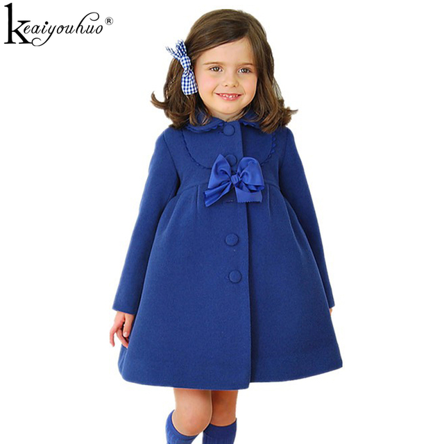 KEAIYOUHUO 2019 Winter Girls Coats Bow Long Sleeve Cotton Jackets For Girls Outerwear Children Girls Clothes Kids Coats Clothing