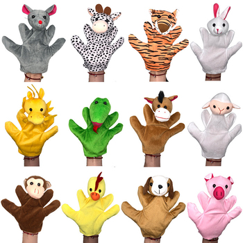 12PCS Animal Finger Puppet Plush Toy for Children Baby Favor Dolls Tell Story Props Cute Cartoon Fingerdoll Kids Soothing Baby