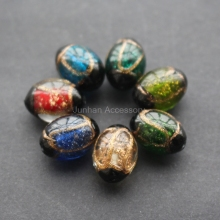 free shipping 10pcslot 1711mm oval shape large glass lampwork beads multi