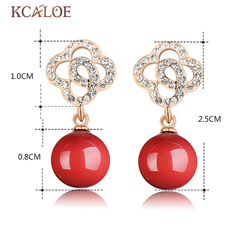 KCALOE Red Drop Earrings Hollow Rhinestone Rose Gold Color Flowers Artificial Coral Fine Wedding Jewelry Dangle Women Earring