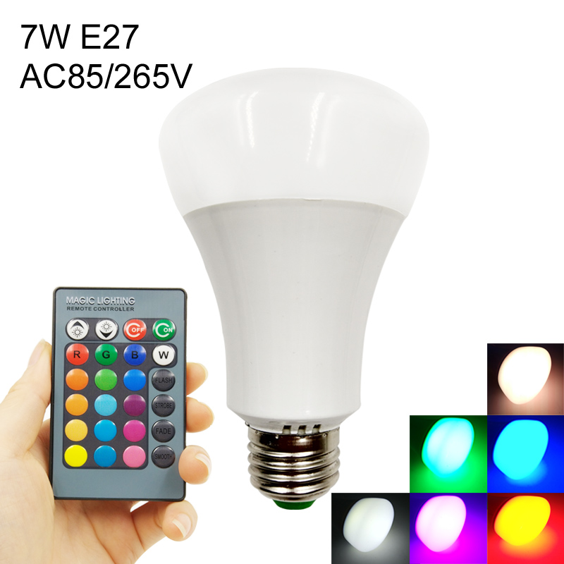 AC85-265V RGB LED Bulb Lamp Light 5W 7W E27 Led 16 Color Changeable Multiple Colour With Remote Control Led Lighting rgb 10w led bulb e27 e14 ac85 265v led lamp with remote control led lighting multiple colour