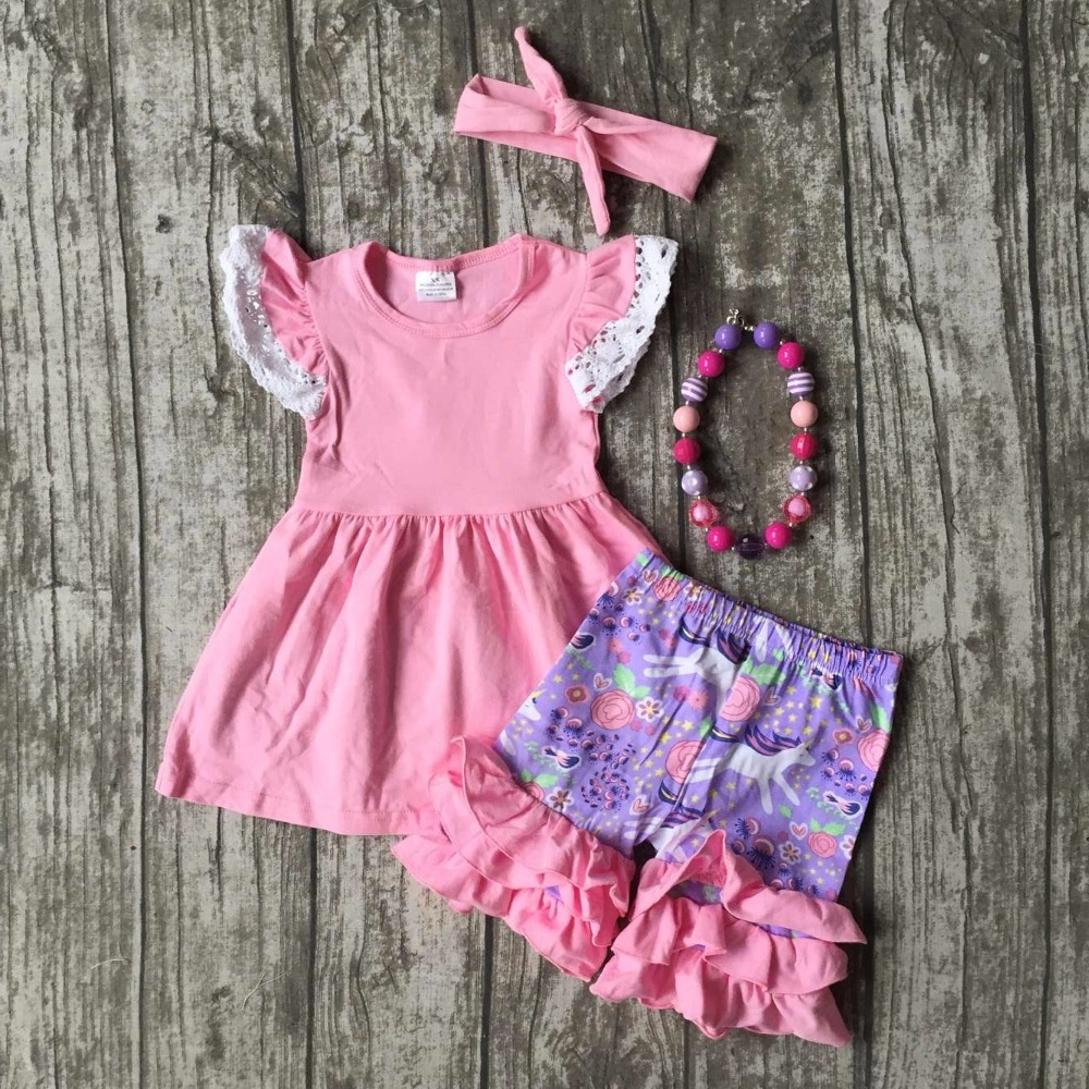 new arrival Summer baby girls clothes pink lavender lace ruffles unicorn cotton boutique shorts kid match accessories kids wear