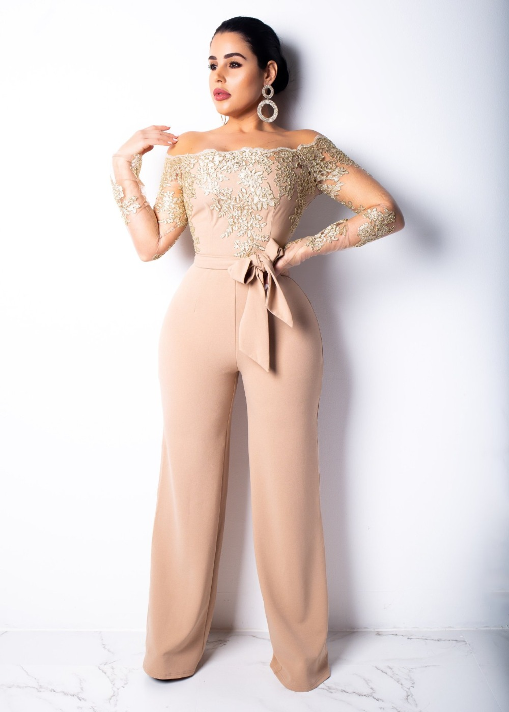 Elegant Appliques Lace Patchwork   Jumpsuit   Women Sexy Off Shoulder Long Sleeve Wide Leg Pants Women   Jumpsuit   Female Body Overalls