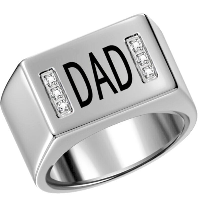 גודל 7-15 נירוסטה אבא אבא טבעת חתונה יום הולדת יום הולדת טבעת חתימה טיטניום הצהרת משפחה ולנטיין
