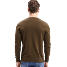 Cotton Men's Sweaters V neck Top Dyed Sweaters Pullover man Solid Color Class Style Knitwear
