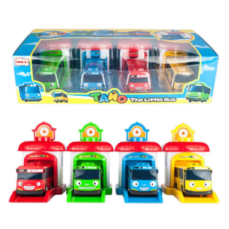 KIDAMI 4pcs Little Miniature Model Tayo Bus Kids Toys Korea Cartoon,Toys For Children,Toddler,Children And Friends Gifts машинки
