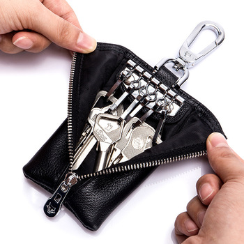 Genuine Leather Double Sided Zipper Waist Hanging Key Wallets Car Organizer Holder Housekeeper Coin Purse