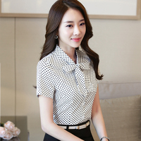 Polka Dot Shirts With Bow Ladies Casual Style New Fashion Short Sleeve Blouse Tops Women Summer
