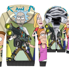 2019 funny 3D Print jackets men hispter hip-hop brand tracksuits winter thick wool liner coats Anime rick and morty swag hoodies