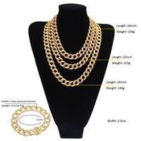 3 Row Zircon CZ Rhinestone Jewelry sets Men Bling Hip Hop Chains Golden Finish Miami Cuban Women Necklaces & Bracelets Sets