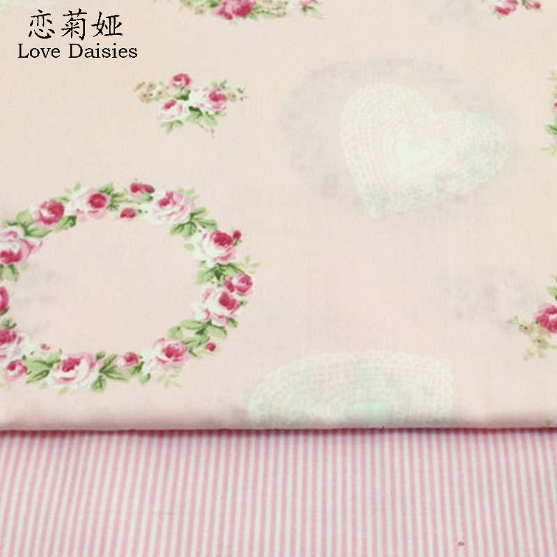 100% cotton twill cloth pastoral pink garland floral heart stripe DIY for kids bedding cushions clothes handwork quliting fabric