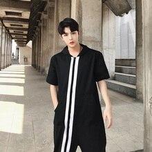 Новая мужская одежда стилист волос модные Подиумные летние кепки с коротким рукавом штаны комбинезон Комбинезоны Костюмы
