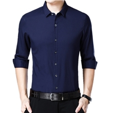 2019 Male Brand Long Sleeve Formal Shirts For Men Turn-down