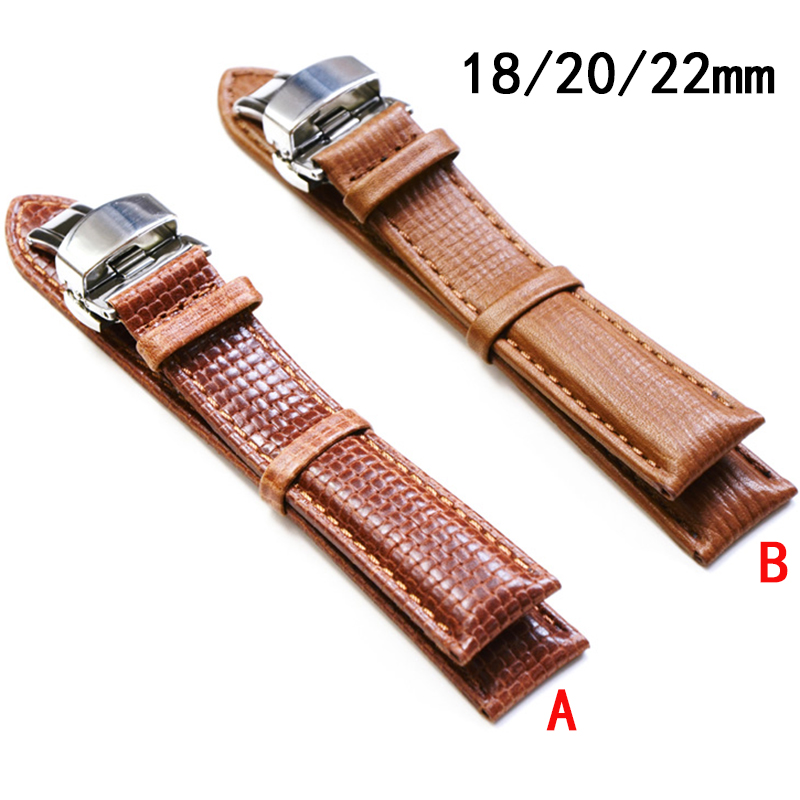 Butterfly buckle Durable men women Genuine Leather watch strap for men / women 18mm 20mm 22mm genuine leather Watch Band eache silicone watch band strap replacement watch band can fit for swatch 17mm 19mm men women