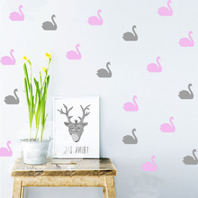 32pc/set Cartoon Swan Wall Sticker For Kids Room DIY Animals Baby Nursery Home Decor Removable Decals