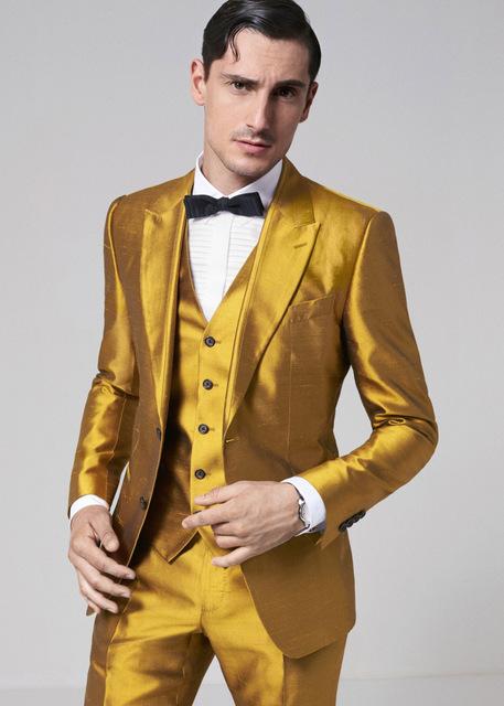 TPSAADE Fashion Design Gold 3 Pieces Men's Suit Formal Skinny Step Suit Blazer Shiny Custom 3 Pieces Jacket Trousers vest 363