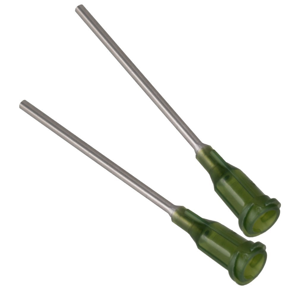 Green And Silver 1.5 Inch Length Blunt Dispensing Needles Syringe Needle Tips 14Ga Pack Of 50