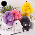 New Arrive Rabbit Design Key Chain 18 cm Pompon Key Ring Fluffy Key Chain Bag Pendant For Car Key Holder Cute Charm Jewelry