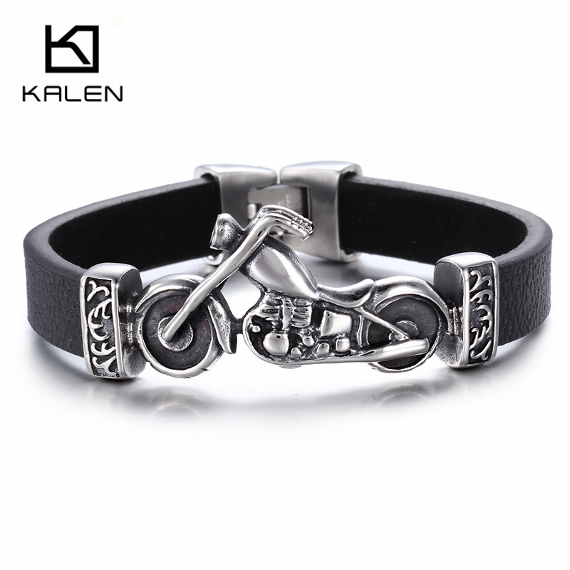 Kalen New Unique Male Jewelry Stainless Steel Motorcycle Charm Bracelet Rock Punk Durable Leather Bracelets Cheap Cool Gift trustylan cool stainless steel dragon grain bracelets men new arrival punk rock keel mens bracelets