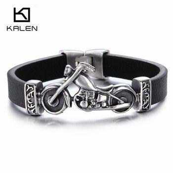 Kalen nuevo único hombre joyería de acero inoxidable amuleto de motocicleta brazalete de rock punk Durable pulseras de cuero barato regalo