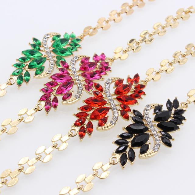 Fancy Rhinestone Chain Bracelet Flower Design Hot Selling Women Jewelry For Party  Gifts Elegant And Generous a1c5ed35779c