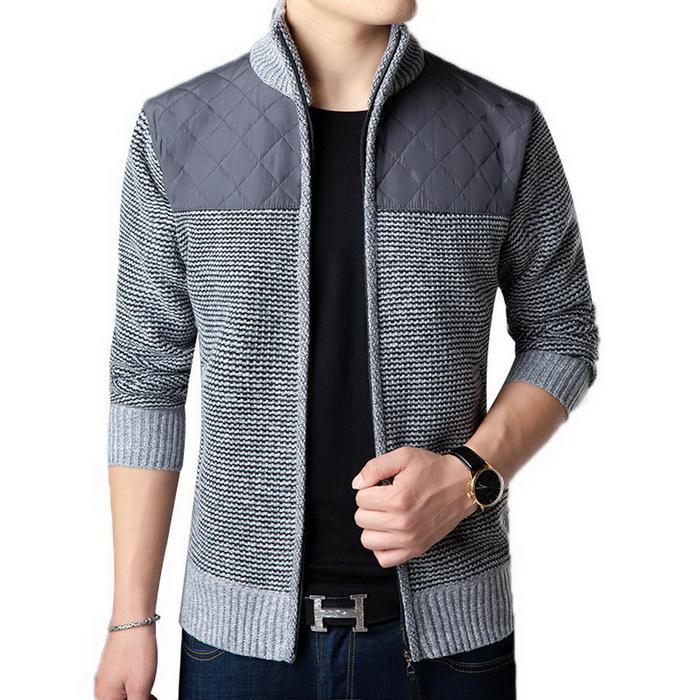 Stand Sleeve Cardigan Sweater Collar Jacket Winter Autumn Contrast Long Men Casual Slim Patchwork Zipper Color