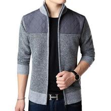 Stand Sleeve Cardigan Sweater Collar Jacket Winter Autumn Contrast Long Men Casual Slim Patchwork Zipper Color