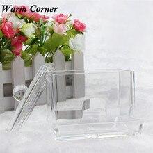 Swab Transparent Box Q tip Swab Acrylic Cotton Bud Organizer Box Cosmetic Stick Holder Storage Household