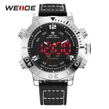 WEIDE Luxury Brand Watch Men Nylon Band Quartz Watch Black White Digital LED Outdoor Military Watch Water Resistant Montres Uhr